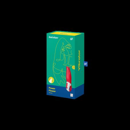Вибратор Power Flower Satisfyer, со стимулятором клитора,12 режимов вибрации,190х30 мм, красный